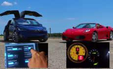 Tesla Model X P90D Ludicrous vs Ferrari F430 Drag Racing