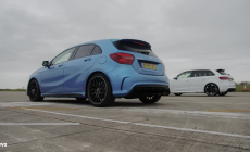 Mercedes A45 AMG vs Audi RS3 - evo DRAG BATTLE